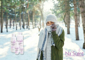Girl outside in the snowy winter forrest with ostomy
